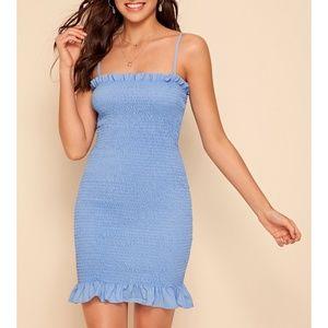 Blue Shirred Ruffle Hem Bodycon Cami Mini Dress